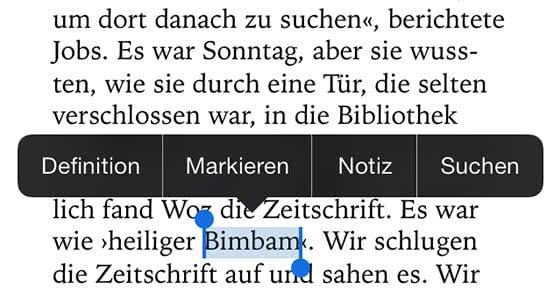 iPhone Wörterbuch - iBooks lesen und Wörterbuch integrieren
