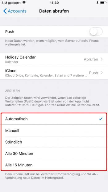 E-Mail Push-Benachrichtigungen deaktivieren oder aktivieren am iPhone