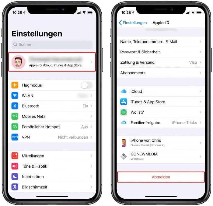 iPhone von iCloud abmelden