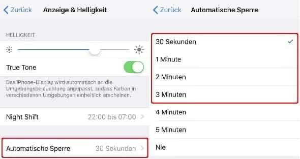 Automatische Sperre einstellen auf dem iPhone