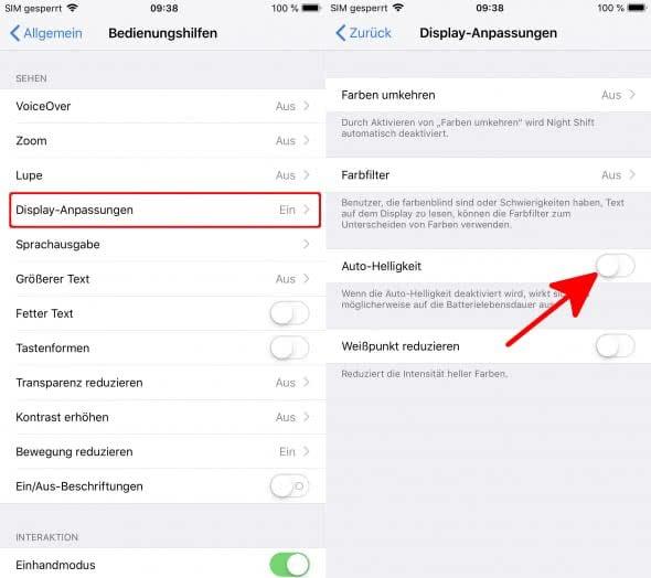 iPhone Auto-Helligkeit deaktivieren
