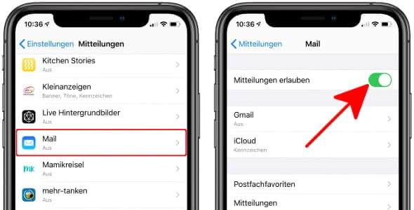 Mitteilungen erlauben für die Mail-App