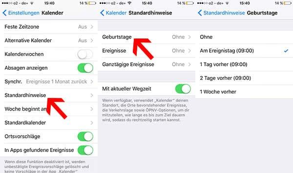 iPhone Standardhinweise für Termine einstellen