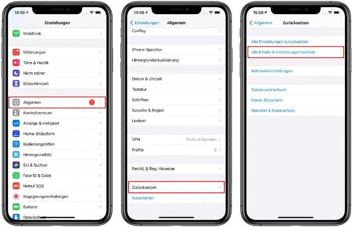 Alle Inhalte und Einstellungen löschen auf dem iPhone