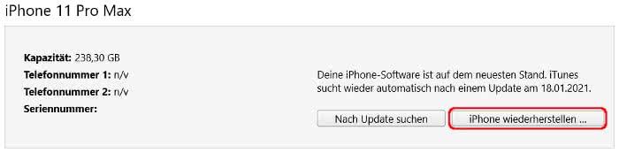 iPhone wiederherstellen in iTunes