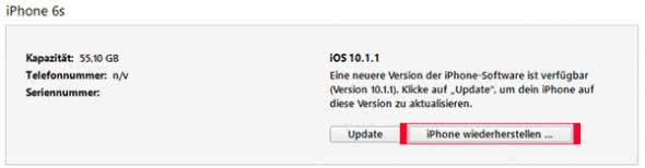 iPhone zurückzusetzen iTunes