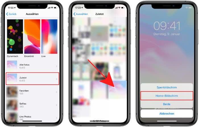 Heruntergeladenes Wallpaper als Hintergrund im Home-Bildschirm wählen