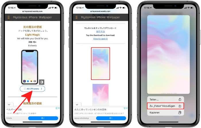 Wallpaper herunterladen auf das iPhone