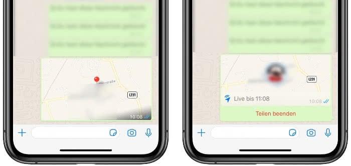 Aktuellen Standort senden oder Live-Standort teilen in WhatsApp