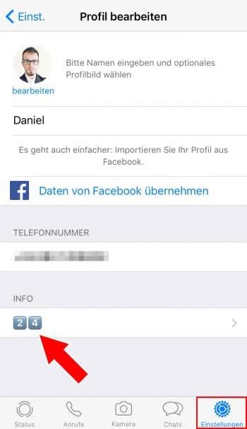 WhatsApp-Status ändern