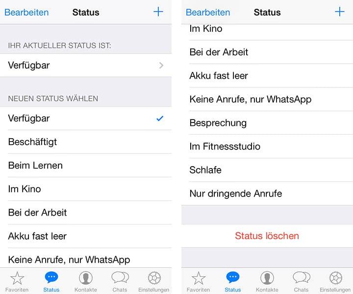 whatsapp status ndern und statusspr che einstellen am iphone. Black Bedroom Furniture Sets. Home Design Ideas