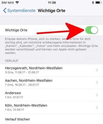Aufzeichnung wichtiger Orte deaktivieren auf dem iPhone