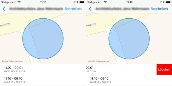 Wichtige Orte auf Karte löschen am iPhone