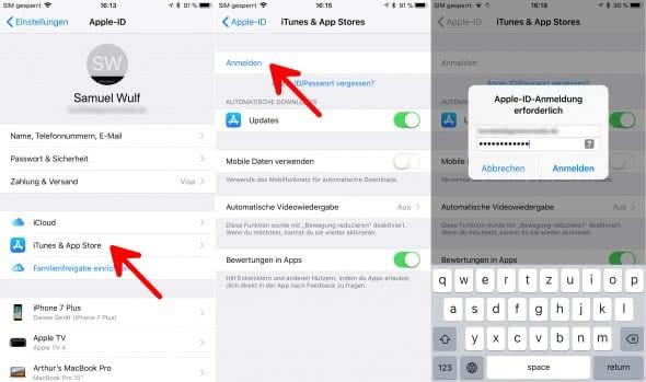 Apple-ID auf mehreren Geräten verwenden