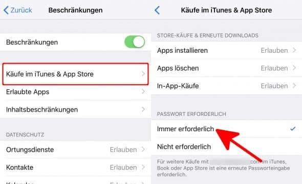 iPhone In-App-Käufe deaktivieren