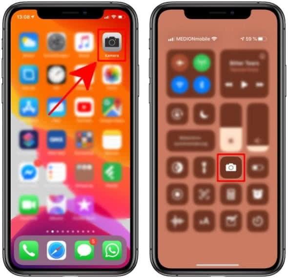 Kamera-App öffnen auf dem iPhone