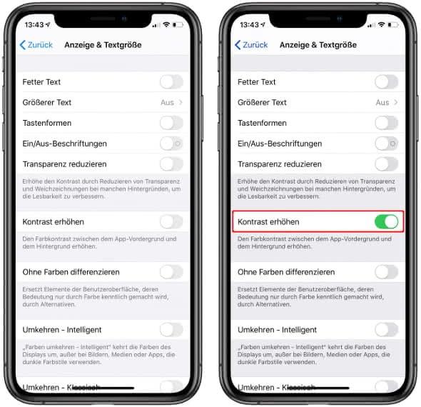 iPhone Kontrast erhöhen