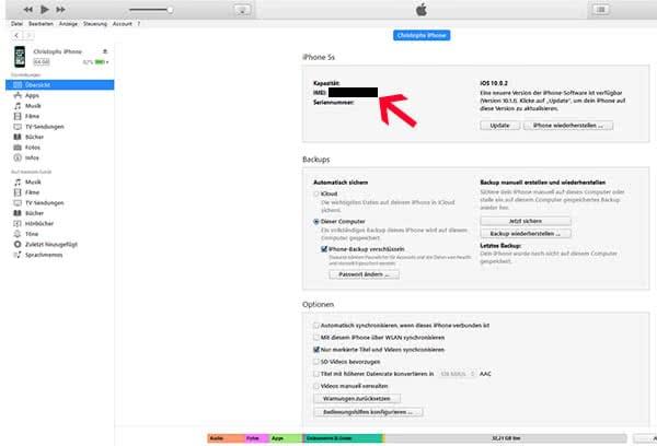IMEI-Nummer abfragen über iTunes