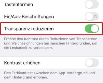 Transparenz reduzieren auf dem iPhone