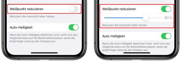 iPhone Weißpunkt reduzieren