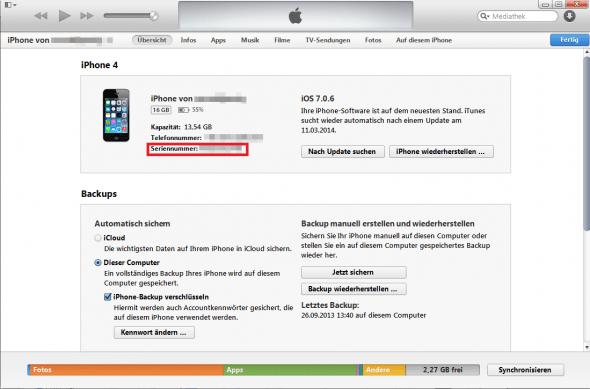 Euer iPhone in iTunes