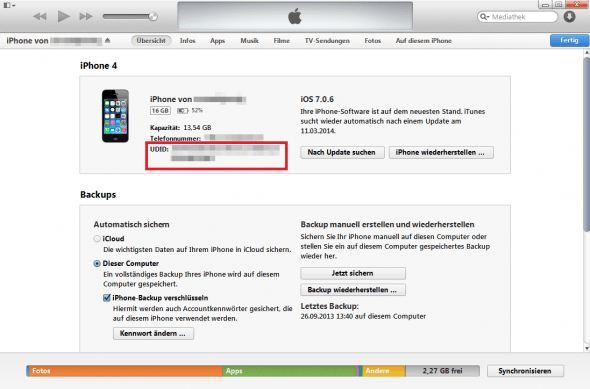 UDID in iTunes