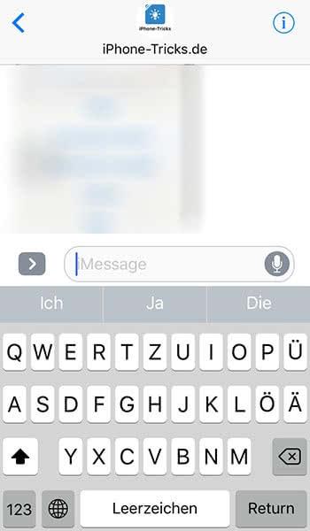 Tastatur ausblenden in der Nachrichten App auf dem iPhone