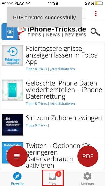 Auf dem iPhone PDF Dateien erstellen