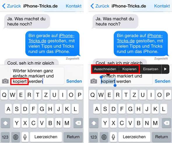 Text markieren und kopieren auf dem iPhone