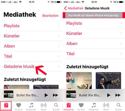 iCloud-Songs in Apple Music verbergen