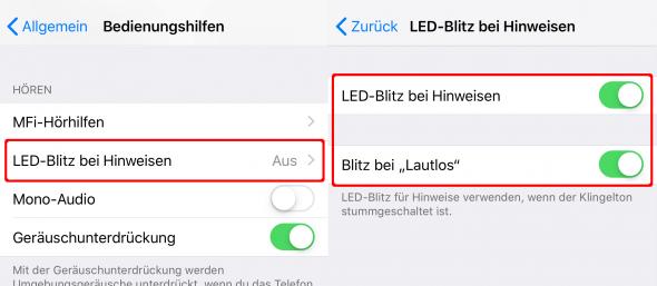 LED-Blitz bei Hinweisen aktivieren am iPhone