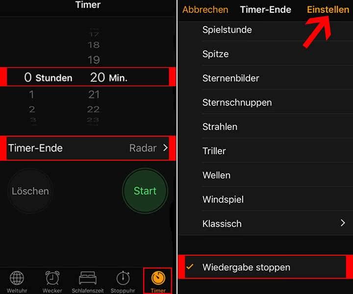 Timer für Musik auf dem iPhone einstellen