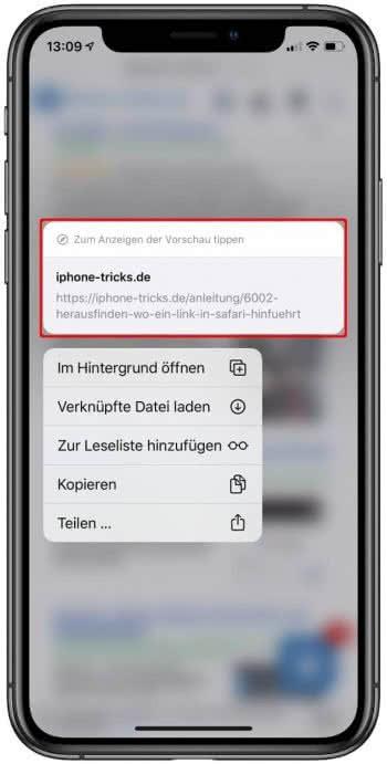 Link-Vorschau in Safari auf dem iPhone