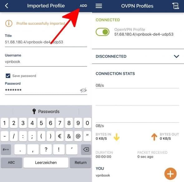 VPN hinzufügen in OpenVPN-App am iPhone