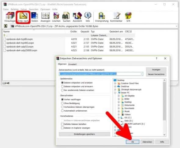 VPN-Dateien entpacken auf dem PC