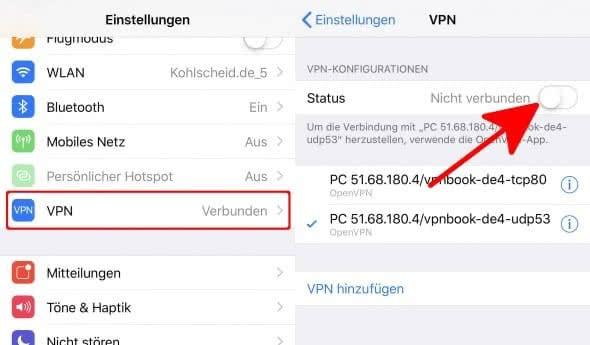 VPN deaktivieren in den iPhone Einstellungen