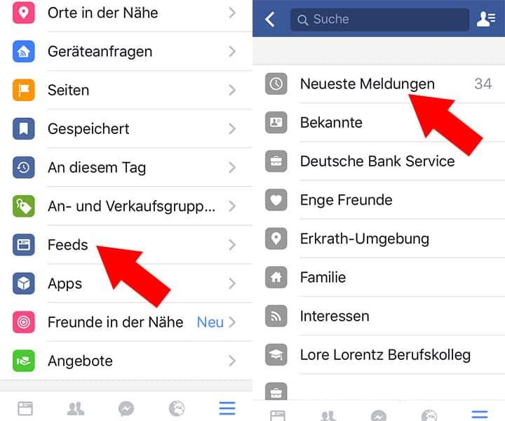 Neueste Meldungen einstellen in Facebook App auf dem iPhone