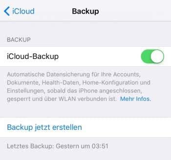 Automatische iPhone Backups in iCloud erstellen