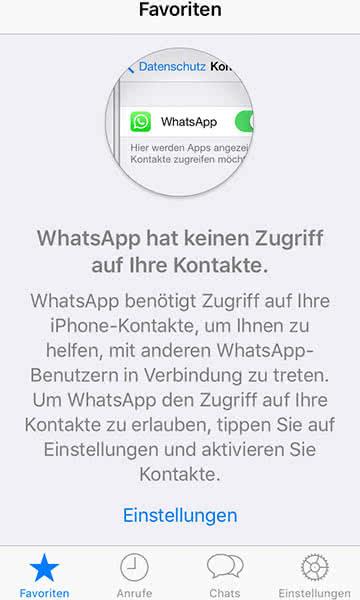 Zugriff von Apps auf iPhone-Kontakte