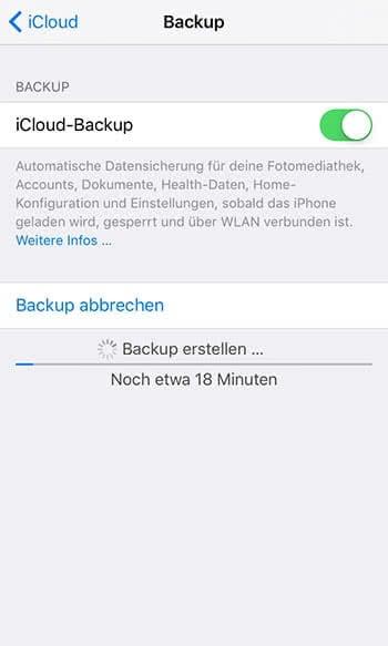 iCloud Backup auf dem iPhone erstellen