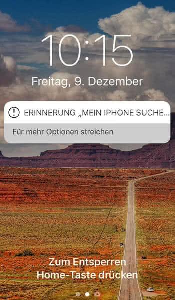 """Erinnerung bei """"Mein iPhone suchen""""-Funktion"""