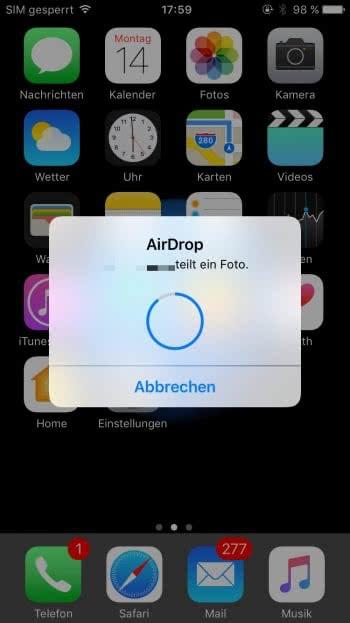 AirDrop Daten empfangen