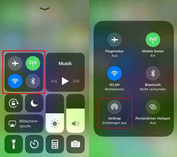 AirDrop Kontrollzentrum iOS11