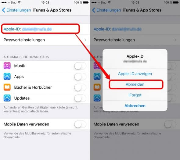 Apple ID ändern am iPhone