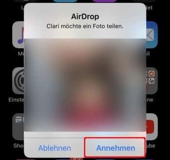 Foto via AirDrop annehmen am iPhone