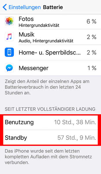 iPhone Akku Nutzung überwachen