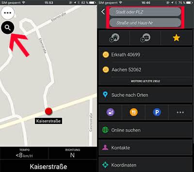 iPhone Offline Navigation - Ziel eingeben in der CoPilot GPS App