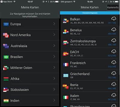 Offline-Karten von CoPilot GPS App auf iPhone herunterladen