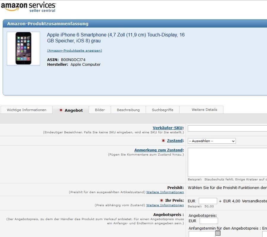iPhone 6 bei Amazon.de verkaufen