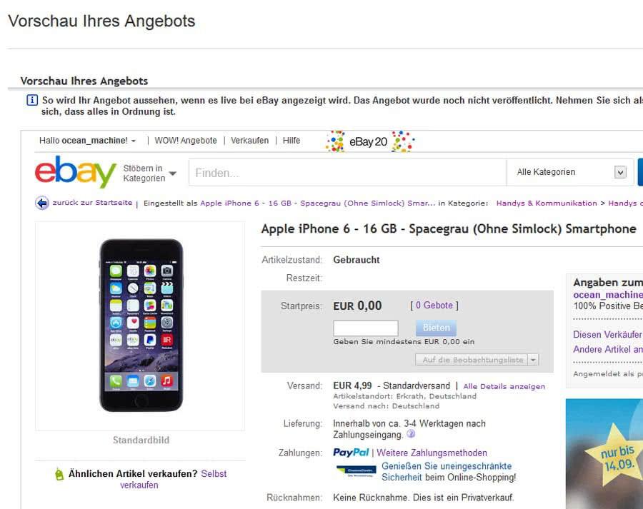 iPhone 6 verkaufen bei ebay.de